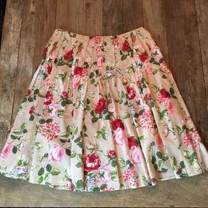 Cabi Pink Rose Floral Flowy Romantic Cotton Skirt